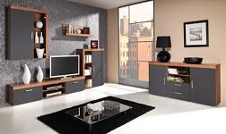 Sektorový nábytek Cheris švestka a šedý grafit