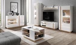 Sektorový nábytek City bílá, dub grandson a bílý lesk