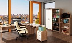 Kancelářský nábytek Johan švestka a bílá