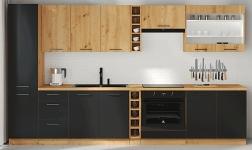 Kuchyně Monro černý mat a dub artisan
