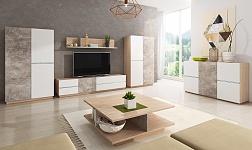 Sektorový nábytek Laguna beton, dub jantar a bílý mat
