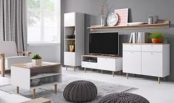Sektorový nábytek Laveli bílá a buk pískový
