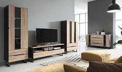 Sektorový nábytek Letya černá mat a dub grandson