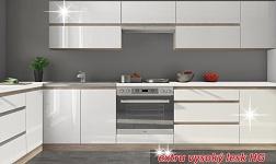 Kuchyně Line bílá HG vysoký lesk a dub sonoma