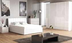 Ložnice Italia bílá vysoký lesk HG