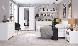 Ložnice Lindy bílá a bílý lesk
