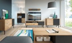 Sektorový nábytek Forso dub artisan a černá