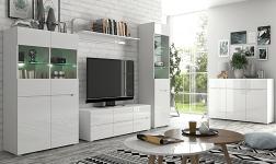 Sektorový nábytek Jolk bílá a bílý extra vysoký lesk HG