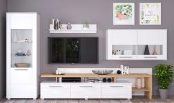 Sektorový nábytek Kelen bílá extra vysoký lesk HG a dub wotan