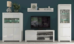 Sektorový nábytek Lindy bílá a bílý lesk
