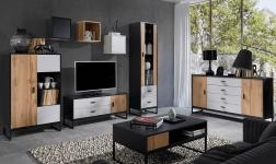 Sektorový nábytek Marley černá, dub wotan a šedá