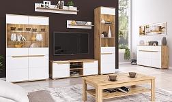 Sektorový nábytek Vinco dub wotan a bílá extra vysoký lesk