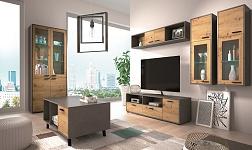 Sektorový nábytek Paride dub artisan a smooth šedý