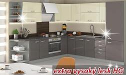 Kuchyně Prado HG vysoký lesk šedý