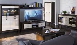 Sektorový nábytek Parmy dub sonoma čoko a béžový lesk