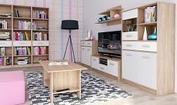 Sektorový nábytek Teyo dub sonoma a bílá