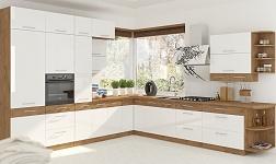 Kuchyně Vega vysoký lesk HG bílý a dub lancelot
