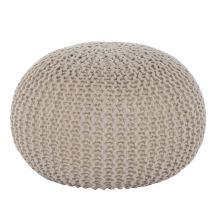 Pletený taburet TAMAN 2 bavlna smetanově béžová