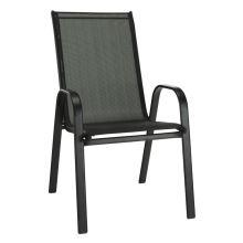 Zahradní stohovatelná židle ALDERA ocel černá, textilie tmavě šedá