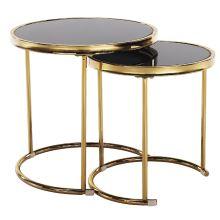 Set 2 konferenčních stolků MORINO kov gold chrom zlatá, sklo černé