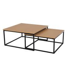 Set dvou konferenčních stolků KASTLER TYP 1 MDF fólie buk, kov černý lak