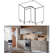 Skříňka do kuchyně, dolní, dub sonoma / bílá, Cyra NEW DN-90