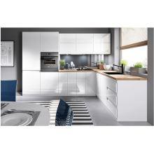 Potravinová skříň, bílá / bílá extra vysoký lesk, pravá, AURORA D40SP