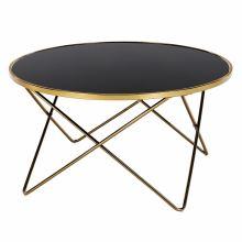 Konferenční stolek ROSALO kov gold chrom zlatá, sklo černé