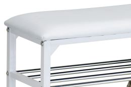 Botník 83168-13 WT koženka bílá, kov bílý, chrom