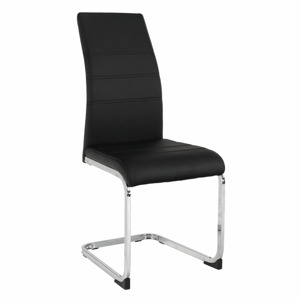Jídelní židle VATENA ekokůže černá, kov chrom