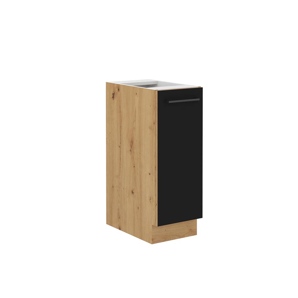 Spodní skříňka s kovovým košíkem, černý mat / dub artisan, Monro 30 D CARGO