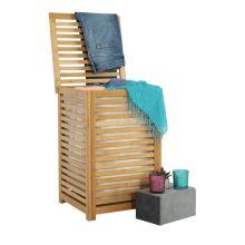 Koš na prádlo BASKET lakovaný bambus přírodní, látka béžová