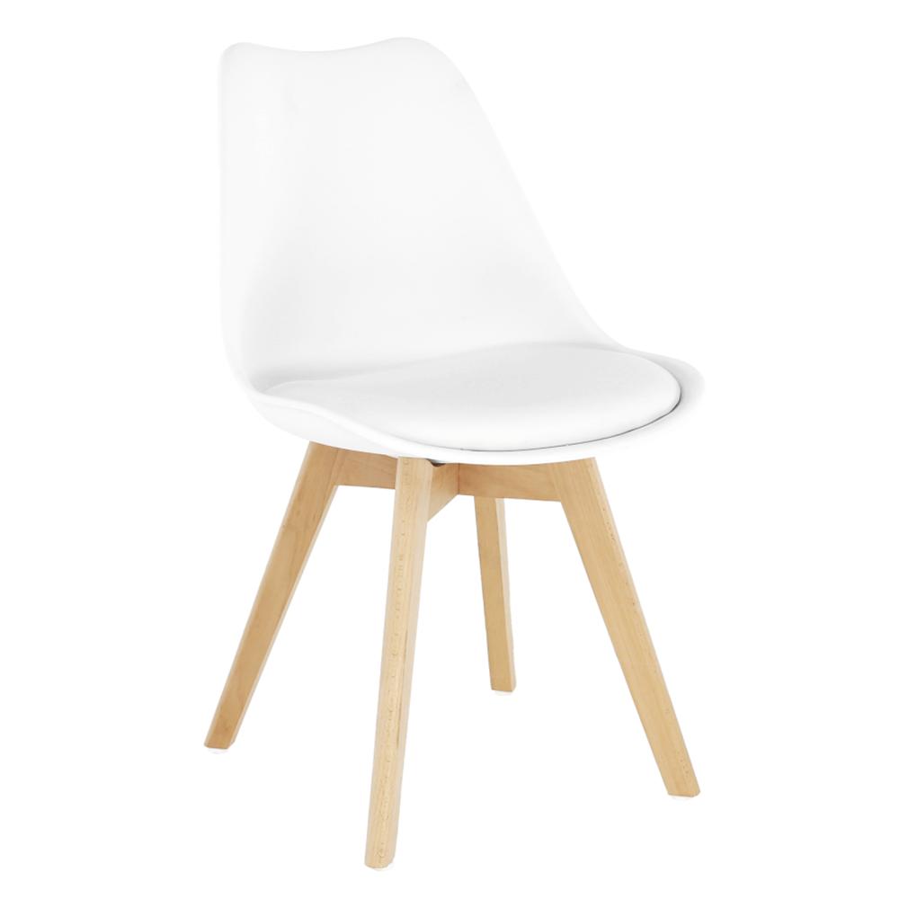 Jídelní židle BALI 2 new, plast a ekokůže bílá, podnož buk