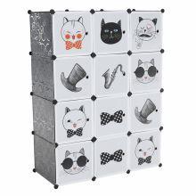 Dětská modulární skříň AVERON kov a plast, šedá a dětský vzor