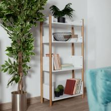 4-poličkový regál BALTIKA TYP 3 přírodní bambus lakovaný, barva bílá