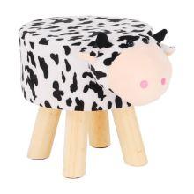Taburet MOLLY ve tvaru kravičky, látka Velvet bílá a černá, nožky dřevo přírodní