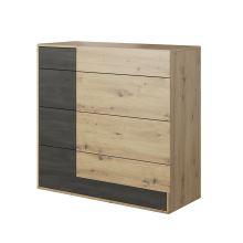 Komoda 4S, dub artisan/černá borovice norská, BAFRA
