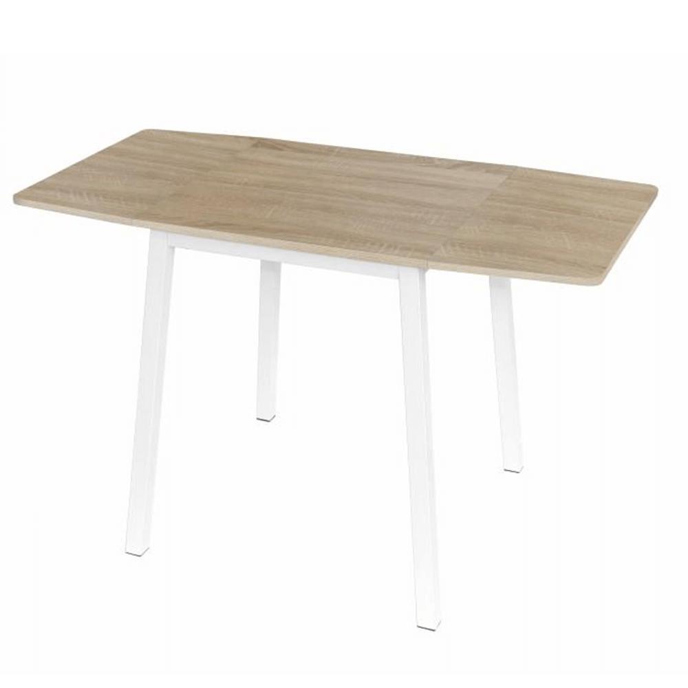 Jídelní stůl MAURO rozkládací 60-120x60 cm, MDF dub sonoma a kov bílý
