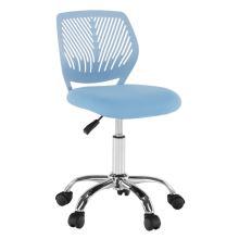 Dětská otočná židle SELVA ekokůže a plast modrý, chrom