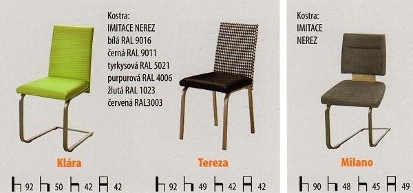 Zakázkové jídelní židle kovové