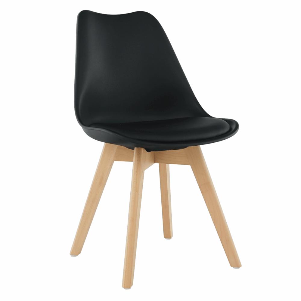 Jídelní židle BALI 2 new, plast a ekokůže černá, podnož buk