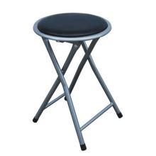 Skládací taburet IRMA stolička, ekokůže černá, kov stříbrný mat