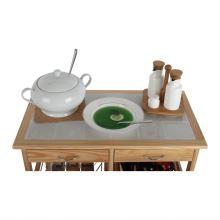 Servírovací stolek, přírodní, CAYMAN