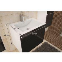 Skříňka pod umyvadlo, bílá / černá extra vysoký lesk HG, MASON BL13