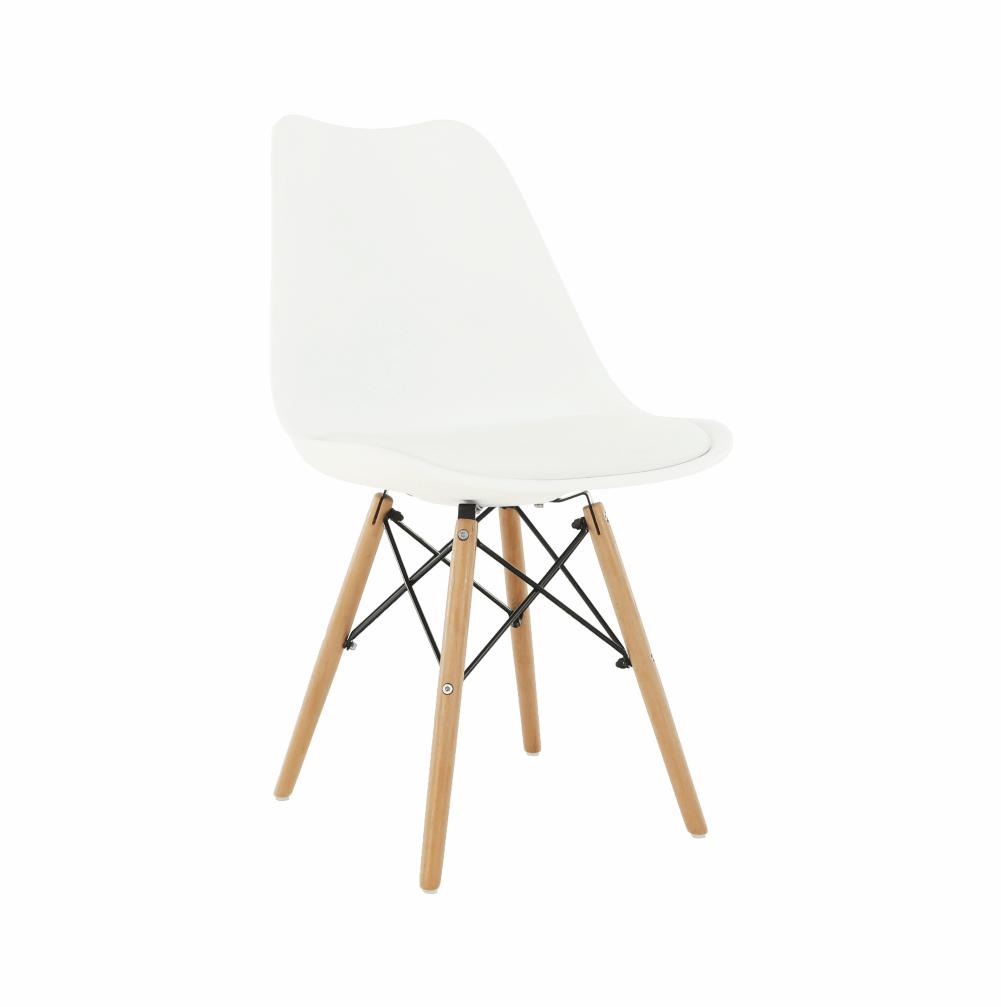 Jídelní židle KEMAL plast a ekokůže bílá, buk, kov černý