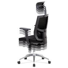 Kancelářská židle s podhlavníkem KA-B1083 BK látka/síťovina černá