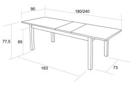 Jídelní stůl S19 Bohumil, rozkládací 180-240x90 cm