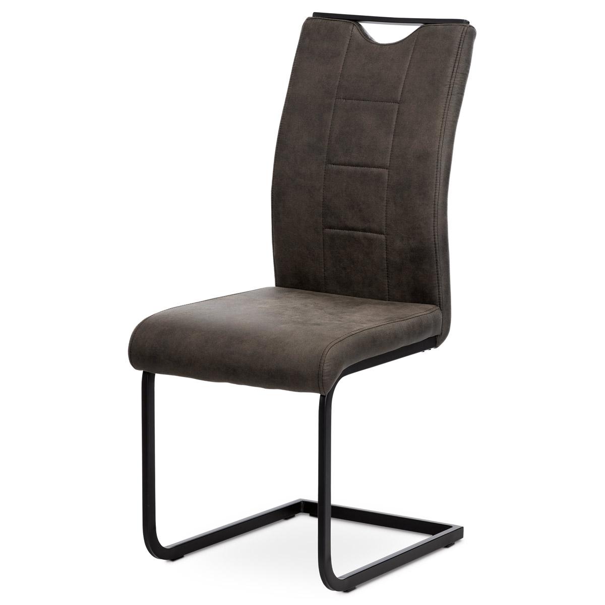 Jídelní židle DCL-412 GREY3 látka šedá v dekoru vintage kůže, bílé prošití, kov černý lak