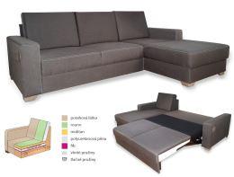 Rohová sedací souprava DENISA pro každodenní spaní, český výrobek