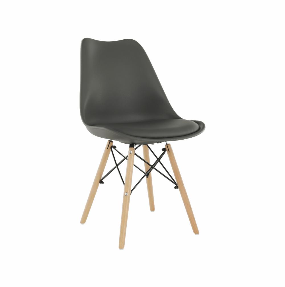 Jídelní židle KEMAL plast a ekokůže tmavě šedá, buk, kov černý